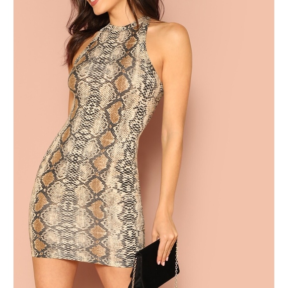 MBM Unlimited Dresses & Skirts - Snakeskin Print Halter Bodycon Mini Dress